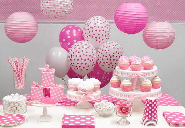 decoración recuerdos para bautizo topos color rosa blanco