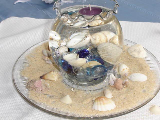 elementos mar centro de mesa temático