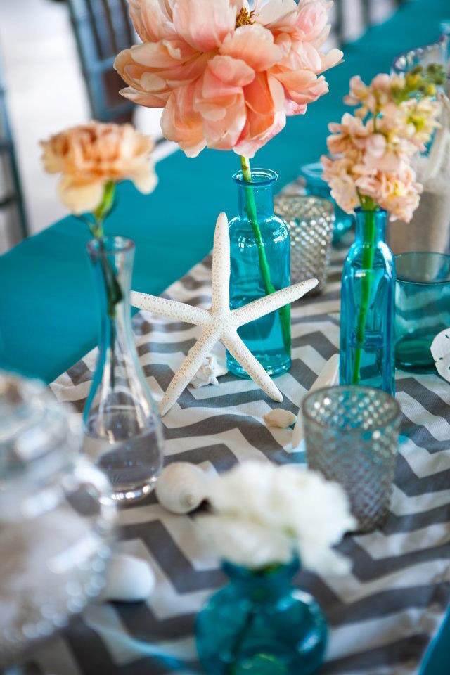 Bridal Shower Gift Ideas For Destination Weddings : fiesta tematica con centro de mesa en colores llamativos