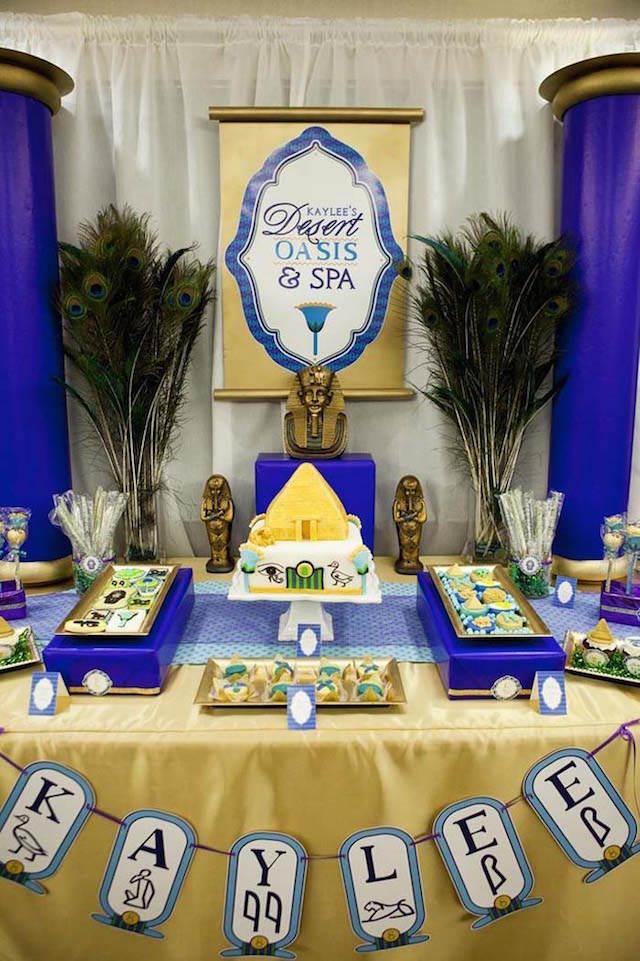preciosa decoración temática fiesta Egipto