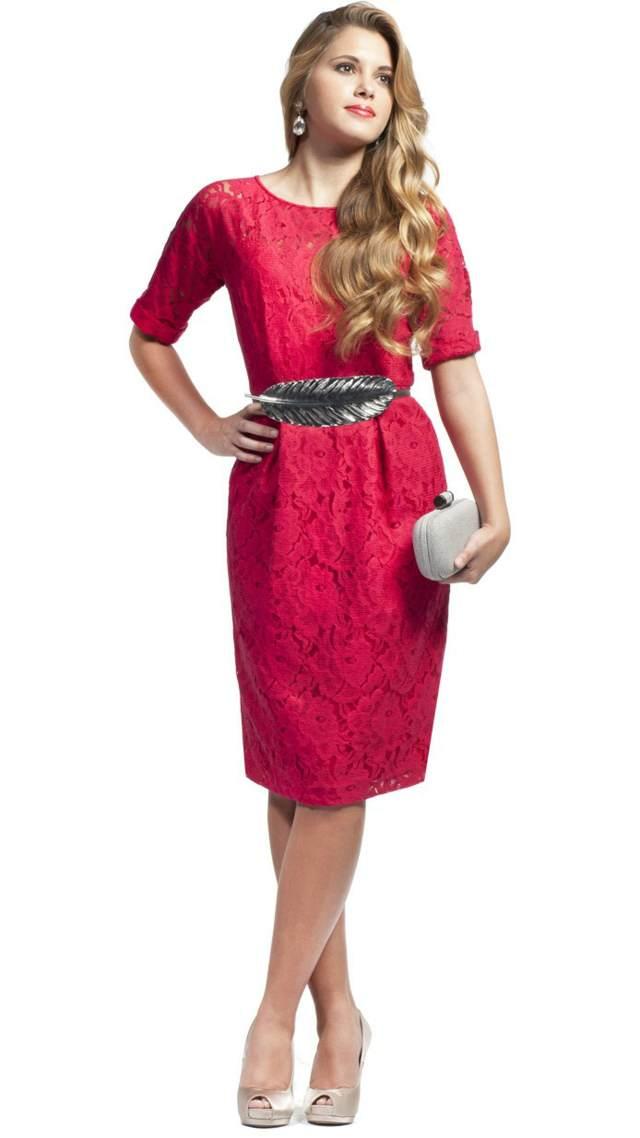vestido color rosa mangas encaje madrina bautizo ideas