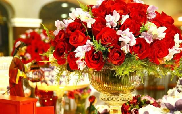 arreglos florales grandes fiesta cumpleaños decoración