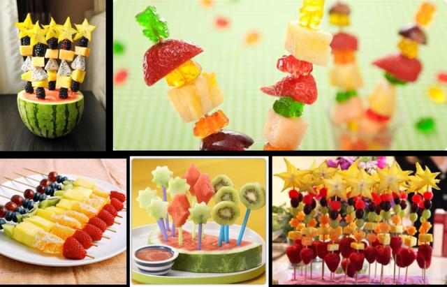 brochetas de frutas niños fiesta infantiles menú sano
