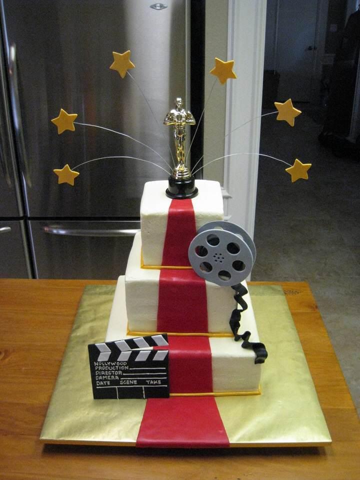 decoracion para cumpleanos tema peliculas torta oscar