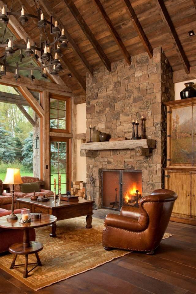 casa en la montaña  decoracion para hogar invierno tendencias 2015