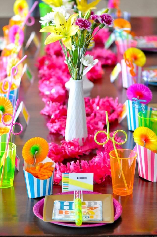 neon comida decoracion fiesta flores