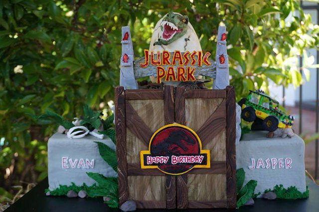 pastel dinosaurios decoracion para cumpleanos cine