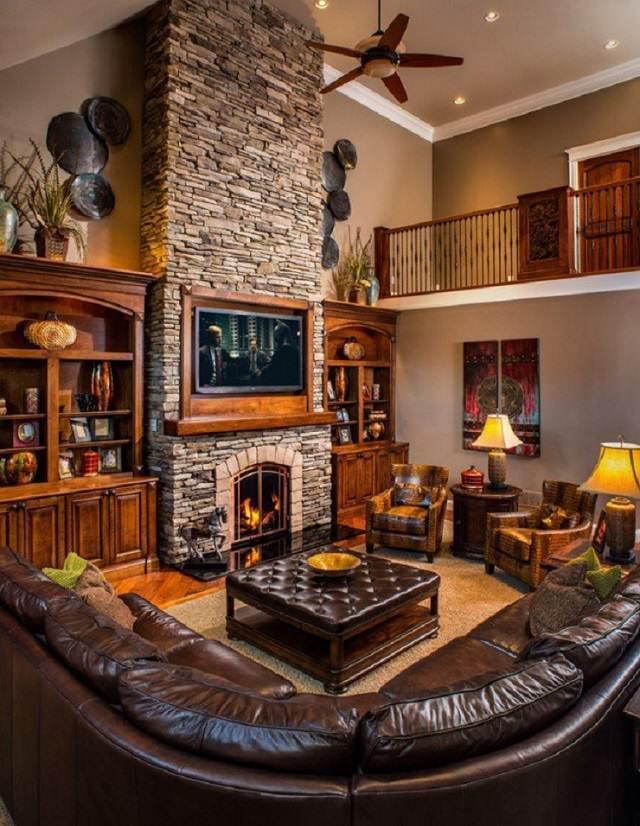 sala acogedor muebles marrones arbol
