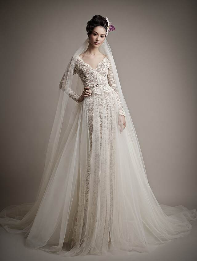 traje de novia largo extravagante 2015