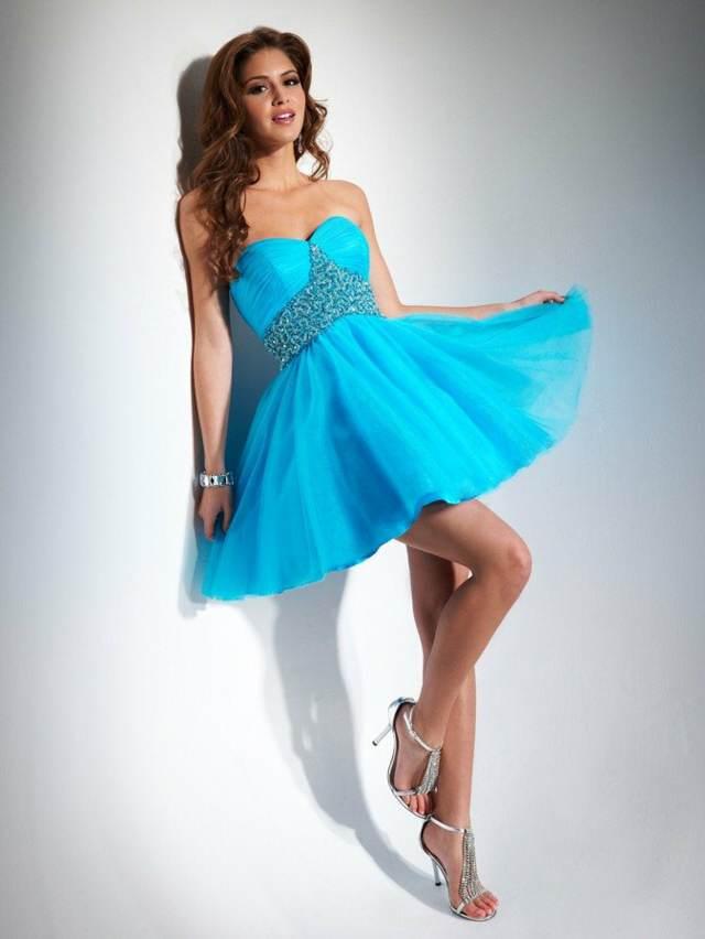 Vestidos para graduacion color azul turquesa